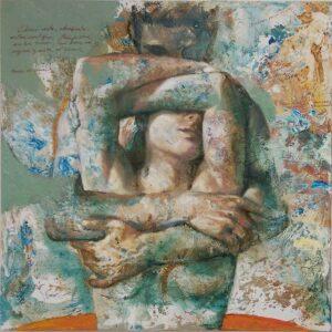 """""""El Abrazo"""" Óleo y acrílico sobre lienzo. 80 x 80 cm"""