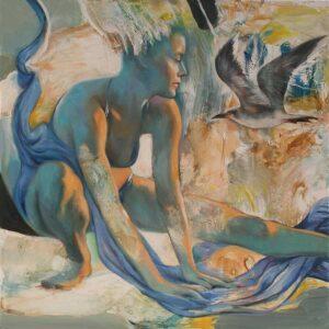 """""""Encuentro inesperado"""" Óleo y acrílico sobre lienzo. 80 x 80 cm"""
