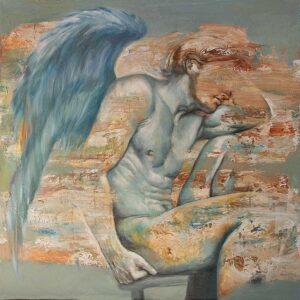"""""""Entre el cielo y la tierra"""" Óleo y acrílico sobre lienzo. 100 x 100 cm"""