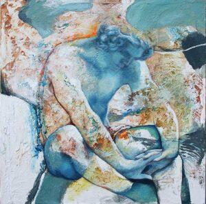 """""""Meditación"""" Óleo y acrílico sobre lienzo. 80 x 80 cm"""