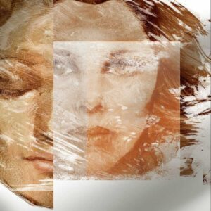 """""""Rostro-Ensoñación III"""", Pintura en relieve, Impresión Giclée en Metal, 50x50cm"""